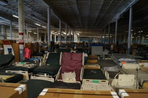 Medical Center beds Advance beds Hill Rom sitting in hospital warehouse