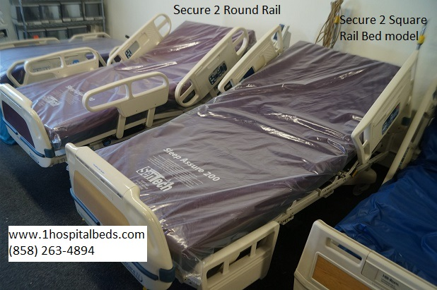 Stryker Secure 2 hospital bed models with round rail and square rail version
